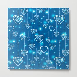 Bright openwork hearts on a light blue background. Metal Print
