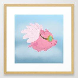 Flying Pink Pig Framed Art Print