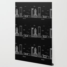 Miami Minimal Nightscape / Skyline Drawing Wallpaper