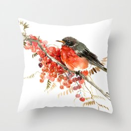 American Robin and Berries Throw Pillow