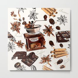 Coffee watercolor pattern with grains coffee mill and chocolate Metal Print