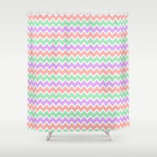 Coral Peach Pink And Lavender And Mint Green Chevron Shower