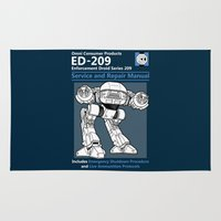 robocop Area & Throw Rugs featuring ED-209 Service and Repair Manual by adho1982