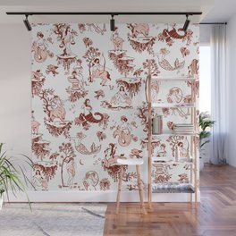 Classic Ruby Pink Zodiac-Inspired Toile Pattern Wall Mural