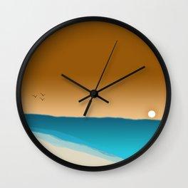 Beach Sunset with birds Wall Clock