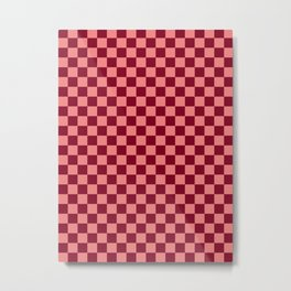 Coral Pink and Burgundy Red Checkerboard Metal Print