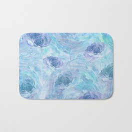 Blue and Purple Watercolor Roses Bath Mat