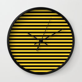 Yellow and Black Honey Bee Horizontal Deck Chair Stripes Wall Clock