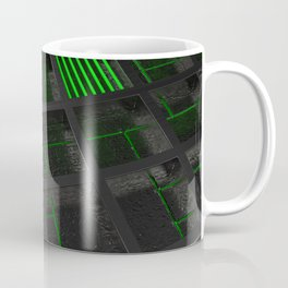 Futuristic industrial brushed metal grate with glowing lines Coffee Mug