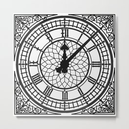 Big Ben, Clock Face, Intricate Vintage Timepiece Watch Metal Print