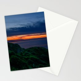 Red sunset over green nature Stationery Cards