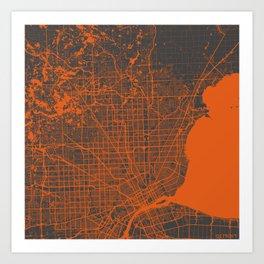 Detroit map orange Art Print