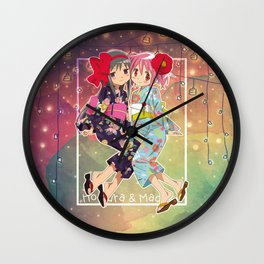 Madoka and Homura in Yukata dress Wall Clock