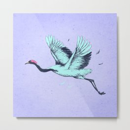 Vintage Crane Illustration  Metal Print