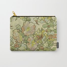 """Alphonse Mucha """"Printed textile design with hollyhocks in foreground"""" Carry-All Pouch"""