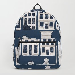 Dutch white and blue building pattern Backpack