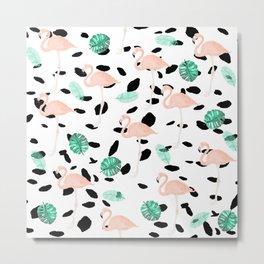 Tropical pink flamingo green watercolor leaf black polka dots llustration pattern Metal Print