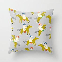 Girls riding a horses on grey background Throw Pillow