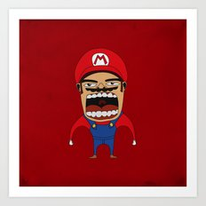 Screaming Mario Art Print