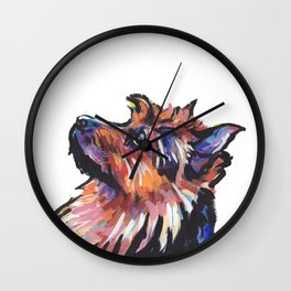 Fun Australian Terrier Dog Portrait bright colorful Pop Art by LEA Wall Clock