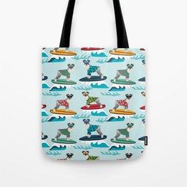 schnauzer surfing dog breed pattern Tote Bag