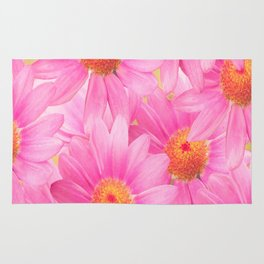 Bunch of pink daisy flowers - a fresh summer feel in pink color Rug