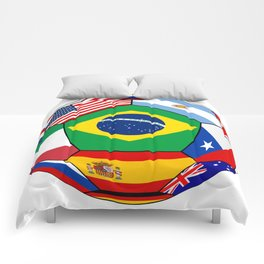Ball With Various Flags Comforters