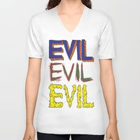 evil V-neck T-shirts featuring Evil by Michael Interrante