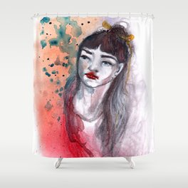Fille rouge Shower Curtain