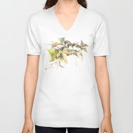 Sparrows and Fall Tree, three birds, brown green fall colors Unisex V-Neck