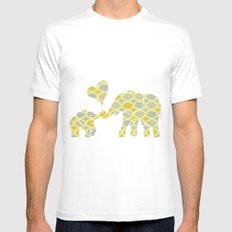 Elephant Hugs White SMALL Mens Fitted Tee