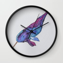 Starwhal Watercolor Painting by Imaginarium Creative Studios Wall Clock