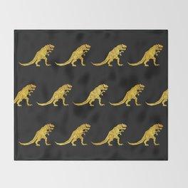 Golden T.Rex Pattern Throw Blanket