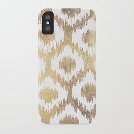 Modern white hand drawn ikat pattern faux gold  iPhone Case