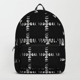 Moon Phase Cross Checker Plaid Large Print Backpack