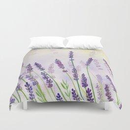 Lavender Flowers Watercolor Duvet Cover