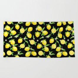 You're the Zest - Lemons on Black Beach Towel