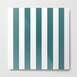 Ming blue - solid color - white vertical lines pattern Metal Print