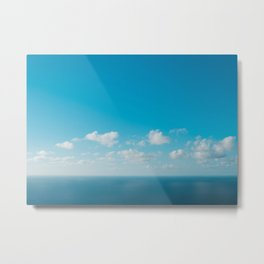 blue sky above ocean panorama with white clouds Metal Print