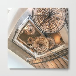 Abstract Perspective // Natural Lighting Ornamental Chandelier Stairway View Metal Print