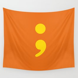Semi Colon in Yellow Wall Tapestry
