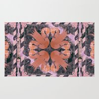 flamingos Area & Throw Rugs featuring Flamingos  by Galvanise The Dog