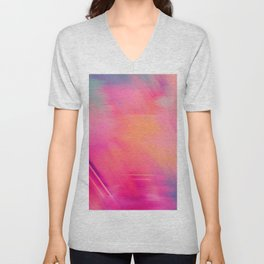 Modern abstract fuchsia violet coral brushstrokes Unisex V-Neck