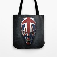 british flag Tote Bags featuring British horror by GrandeDuc