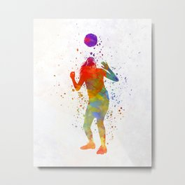 Woman soccer player 13 in watercolor Metal Print