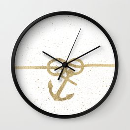 Elegant faux gold white nautical knot anchor watercolor splatters Wall Clock