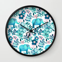 Dusty Pink, White and Teal Elephant and Floral Watercolor Pattern Wall Clock