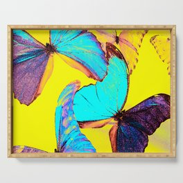 Shiny and colorful butterflies #decor #buyart #society6 Serving Tray