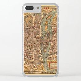 Map Of Paris 1575 Clear iPhone Case