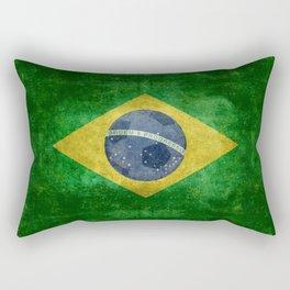 Vintage Brazilian National flag with football (soccer ball) Rectangular Pillow